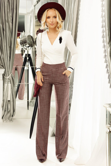 Fofy burgundy office flared striped trousers with lame thread