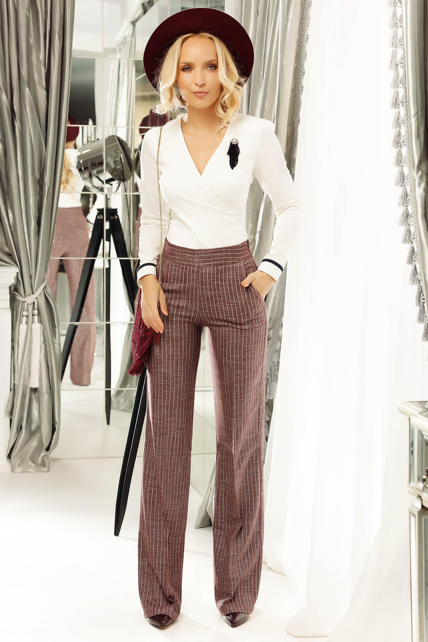 Pantaloni Fofy visinii eleganti din stofa cu fir lame si buzunare