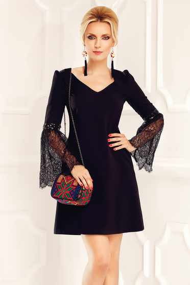 Fofy black occasional a-line dress with bell sleeve
