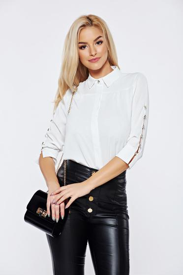 Fofy white office women`s blouse with pointed collar with button accessories
