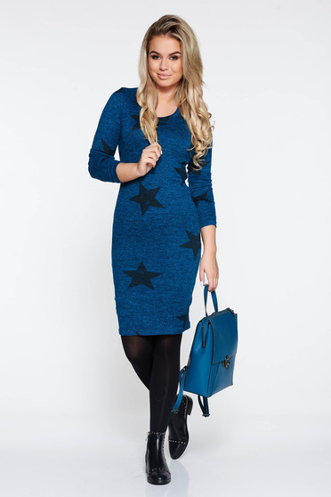 PrettyGirl turquoise casual pencil knitted dress with print details