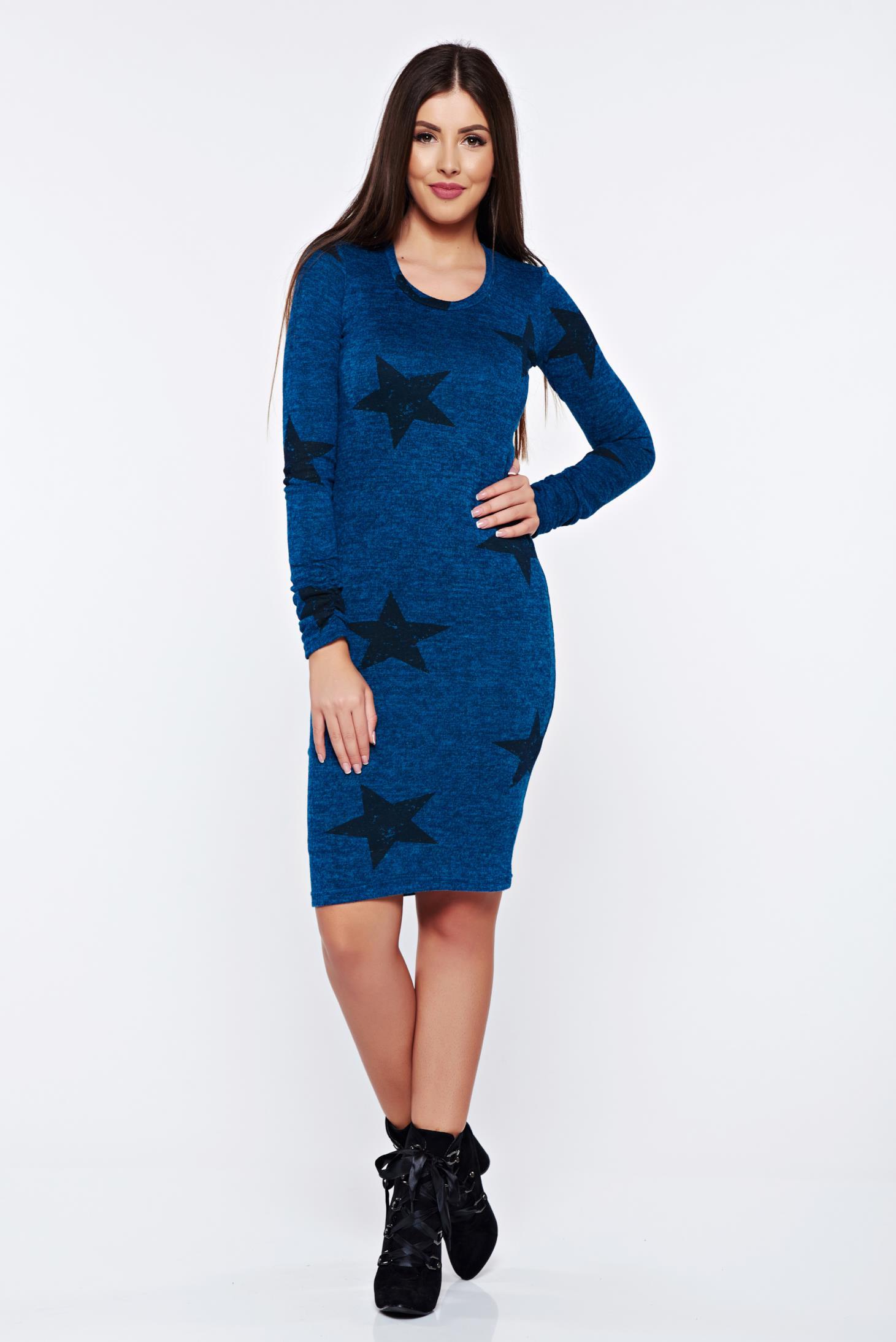 Rochie PrettyGirl turcoaz casual tip creion tricotata cu print