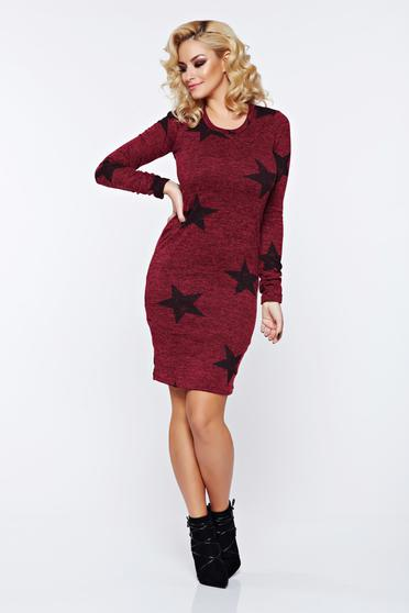 PrettyGirl burgundy casual pencil knitted dress with print details