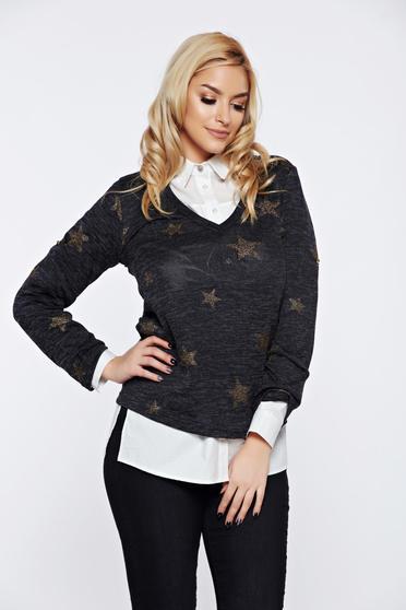 PrettyGirl black casual flared sweater with v-neckline