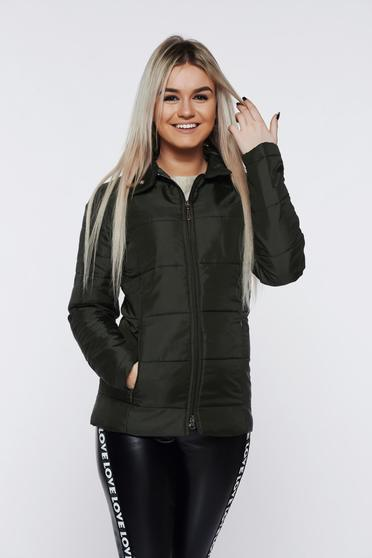 PrettyGirl casual darkgreen jacket from slicker with pockets