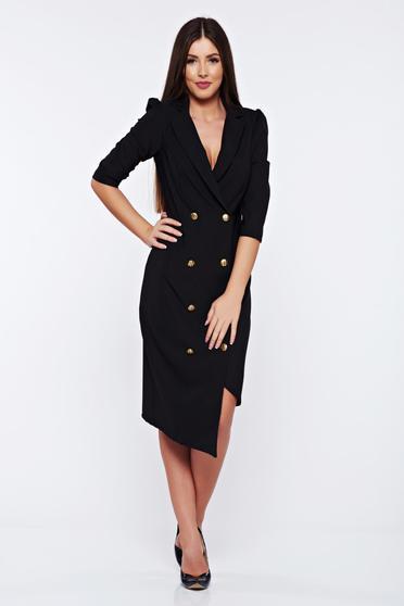 Artista elegant wrap around black dress with button accessories