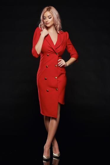 Artista elegant wrap around red dress with button accessories