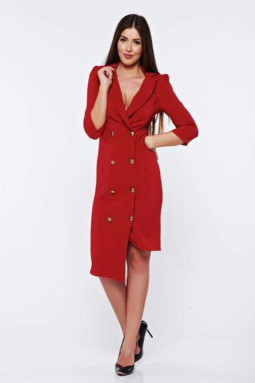 Artista elegant wrap around burgundy dress with button accessories