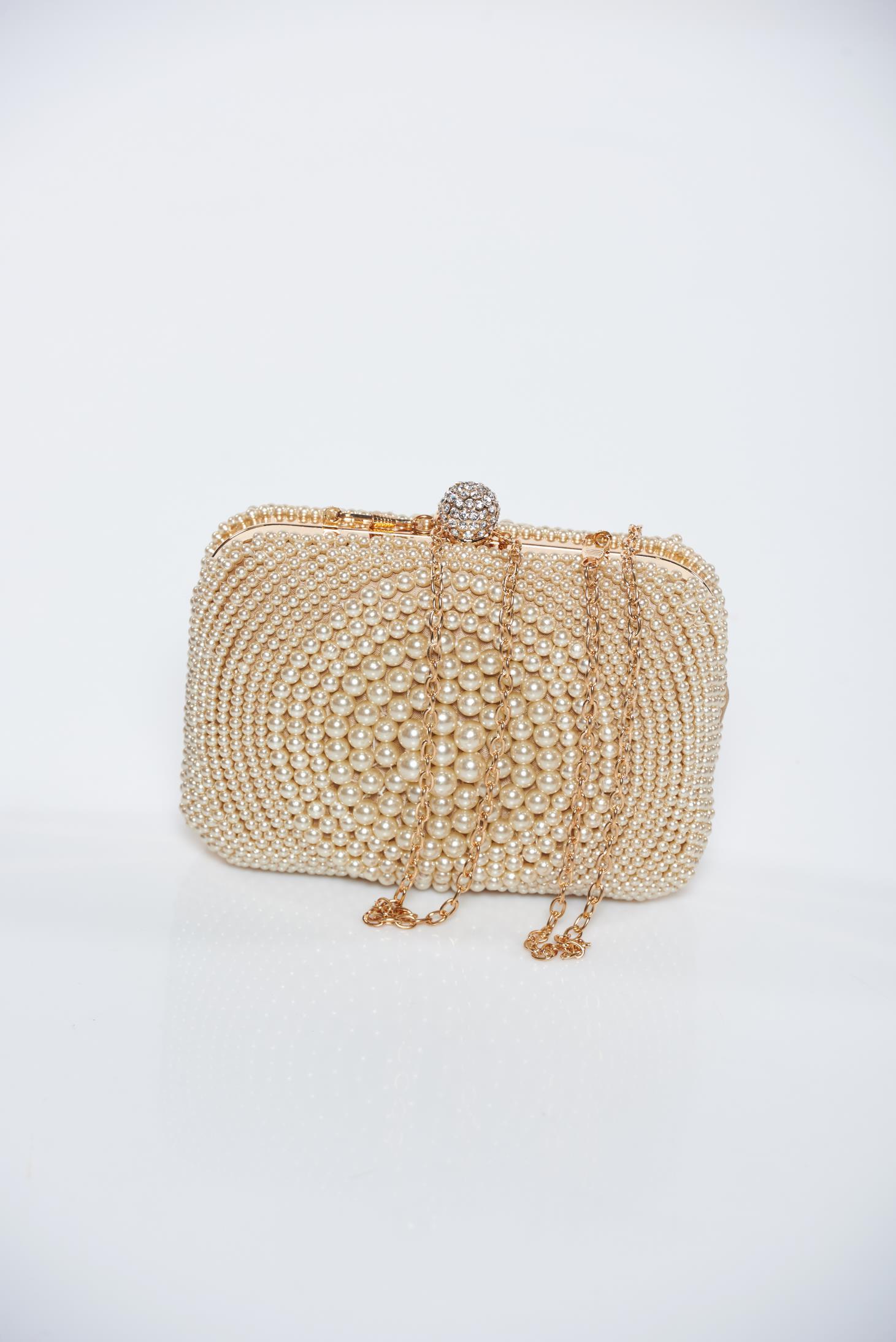 Geanta dama maro de ocazie cu aplicatii cu perle accesorizata cu lantisor