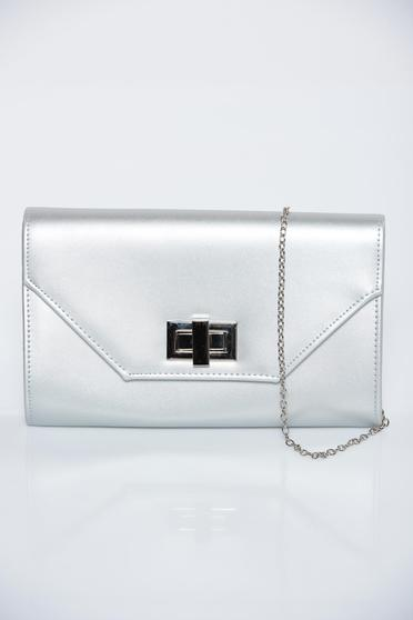 Silver occasional bag from ecological leather with metallic aspect