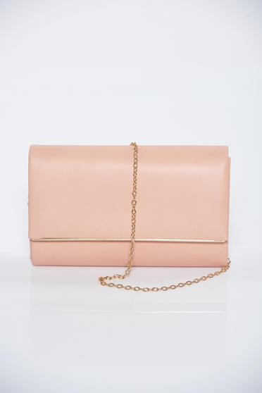 Pink bag metallic chain accessory clutch