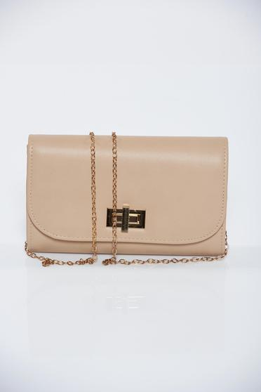 Nude occasional bag from ecological leather with metalic accessory