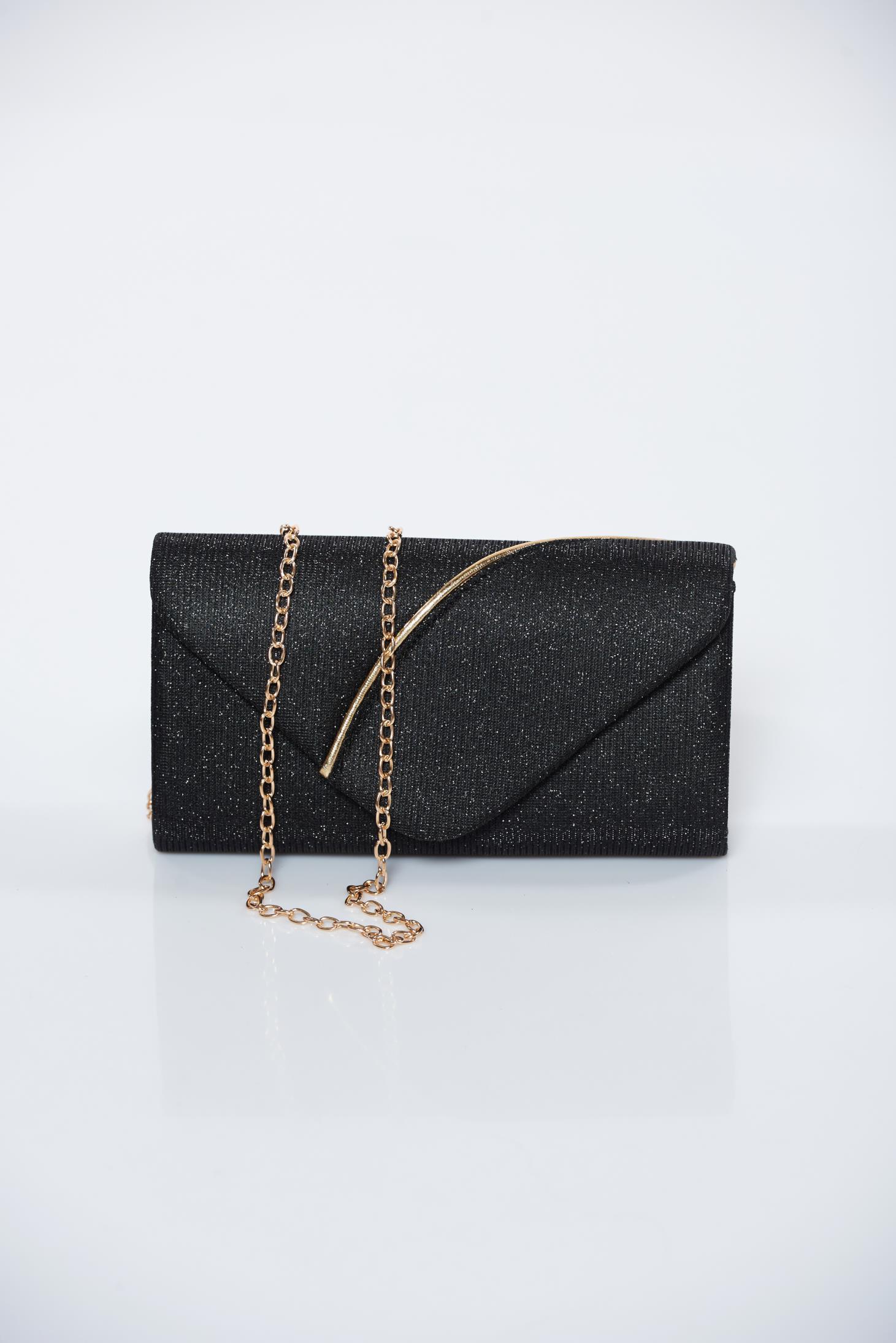e46e2b9472 Fekete alkalmi táska csillogó díszítések lánccal