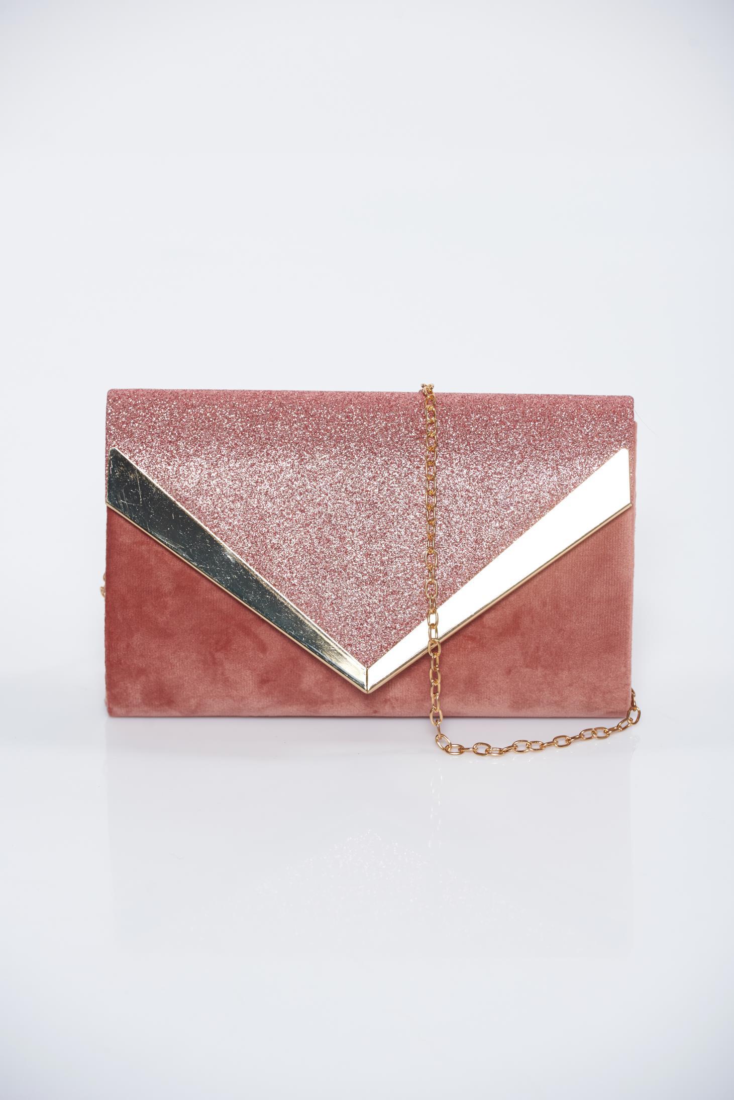 d19edb8350 Rózsaszínű alkalmi bársony táska csillogó díszítések