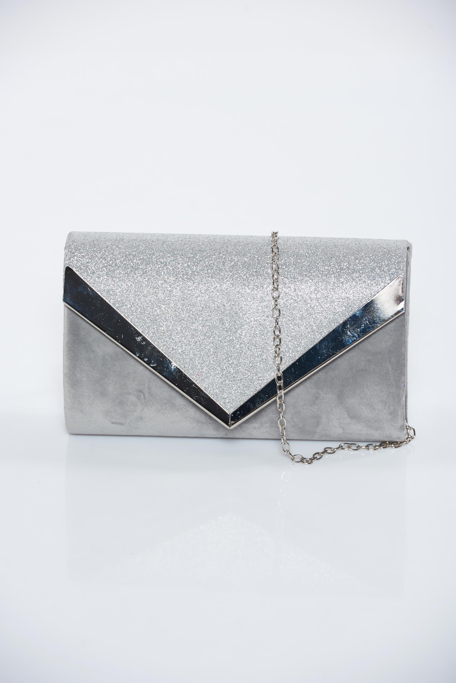 d07161d890 Ezüst alkalmi bársony táska csillogó díszítések