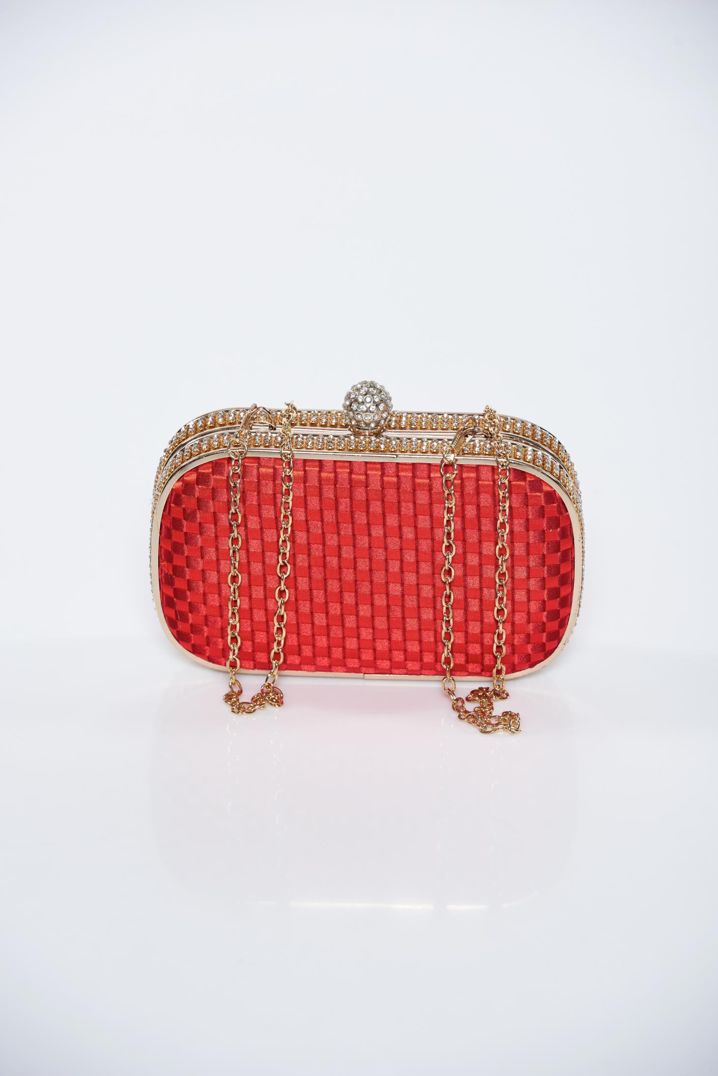 Geanta dama rosie de ocazie din material impletit accesorizata cu lantisor
