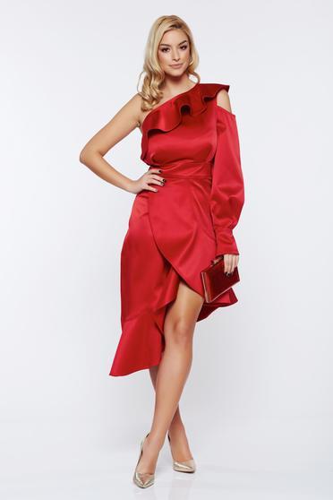 Ana Radu occasional from satin asymmetrical one shoulder red dress