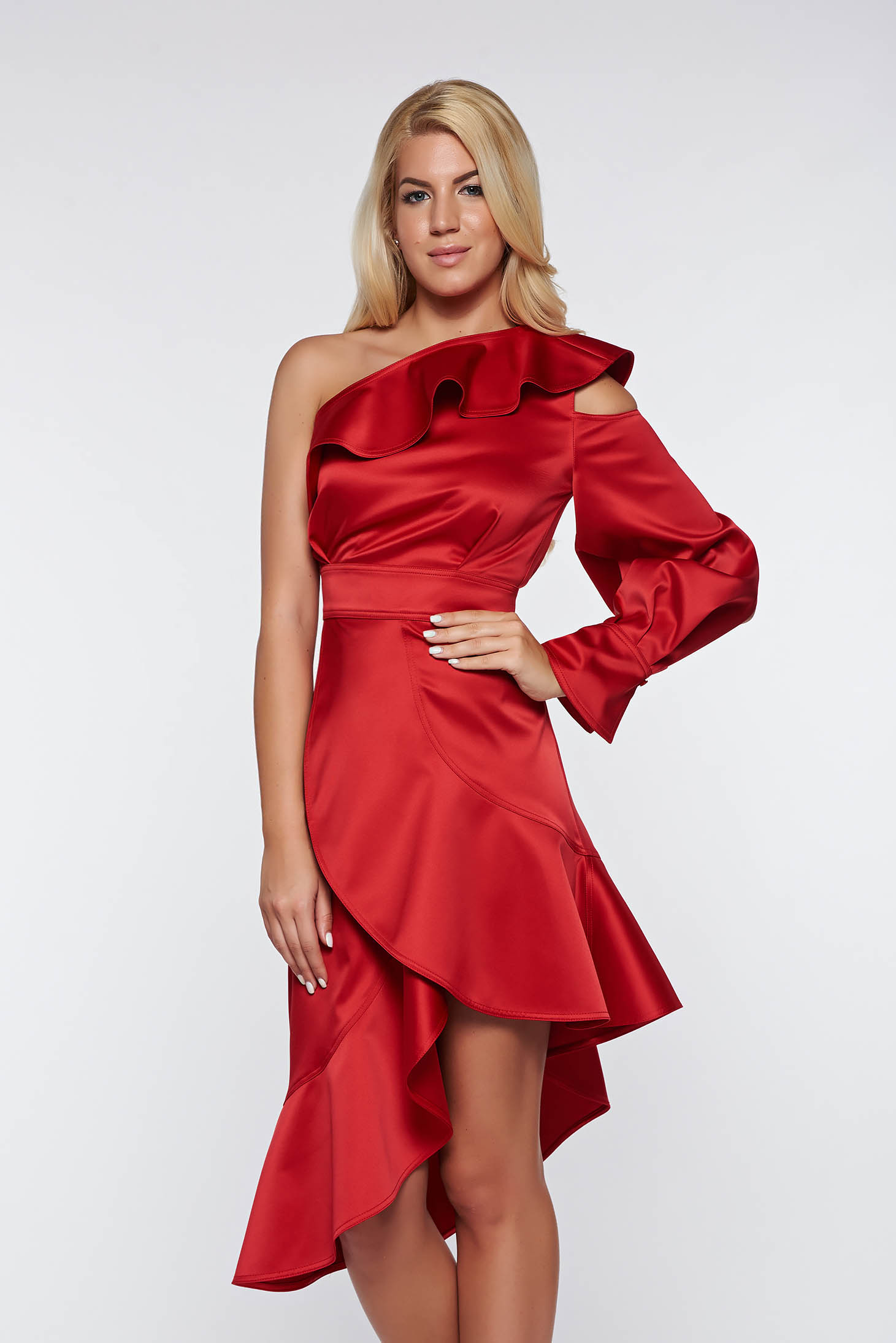 Rochie Ana Radu rosie de lux asimetrica din material satinat pe umar