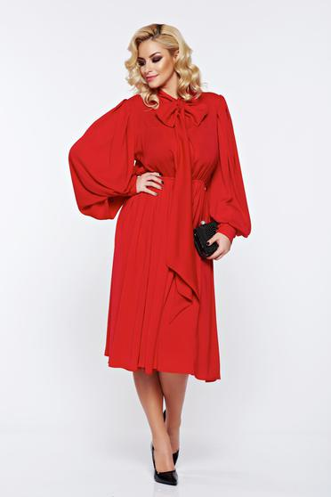 Ana Radu red occasional long sleeve voile fabric long dress