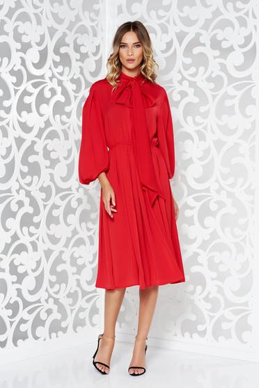Ana Radu red occasional long sleeve voile fabric long dress