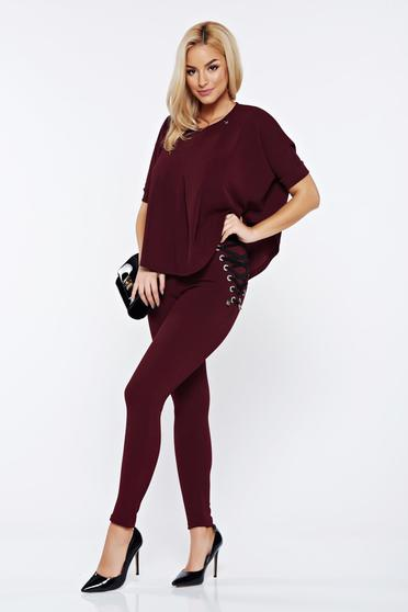 MissQ burgundy set from 2 pieces with trousers with laced details