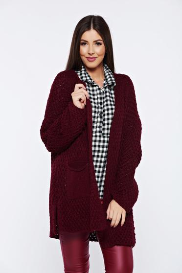 Burgundy knitted cardigan with front pockets