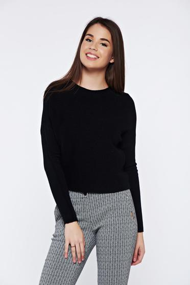 Black casual knitted sweater with easy cut from striped fabric
