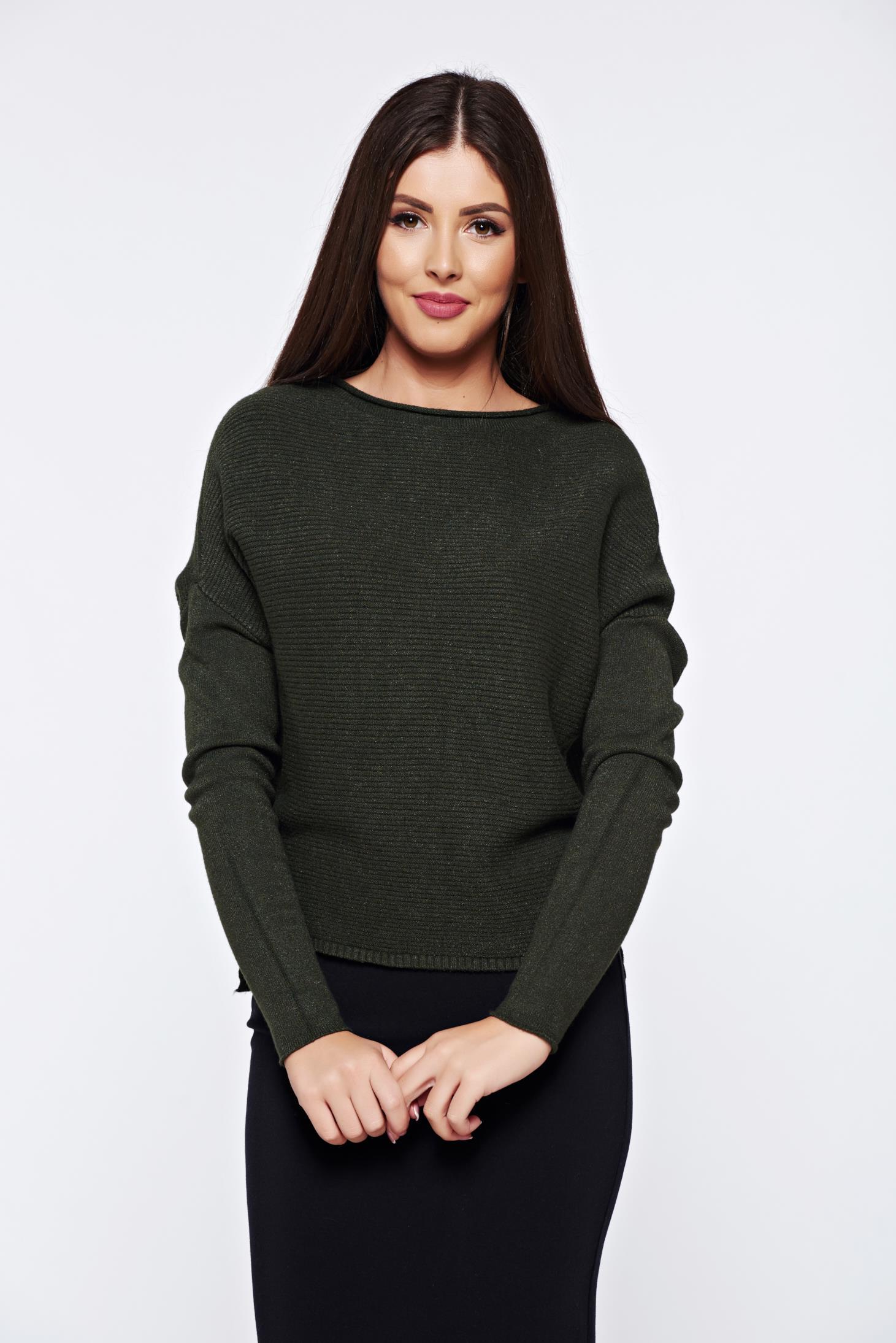 Pulover khaki casual tricotat cu croi larg din material raiat