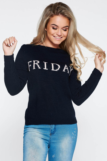 Blue casual knitted texted flared sweater