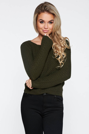 Darkgreen casual knitted asymmetrical sweater with easy cut