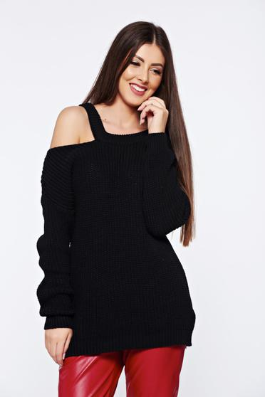 Black casual knitted flared sweater with both shoulders cut out