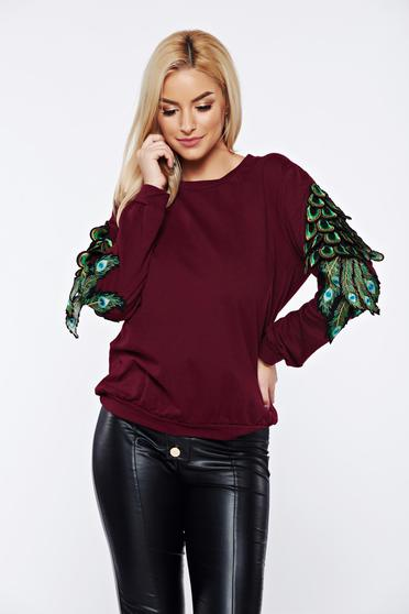 Burgundy casual cotton embroidered sweater with easy cut