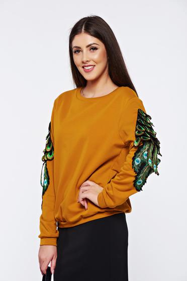 Mustard casual cotton embroidered sweater with easy cut