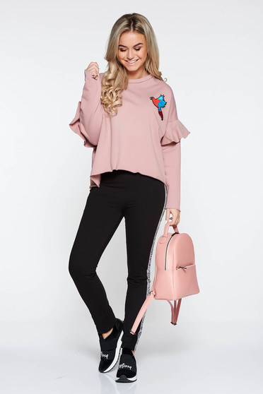 Rosa casual embroidered flared sweater with ruffled sleeves