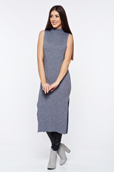 Grey casual with turtle neck knitted dress with tented cut