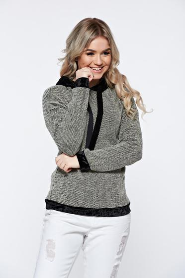 Black casual knitted hoodie with undetachable hood and velvet insertions