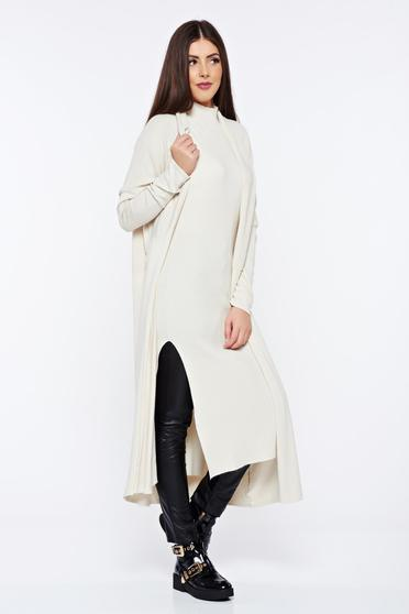 Cream knitted long sleeved cardigan with easy cut