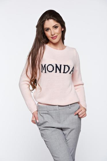 Rosa casual knitted texted flared sweater