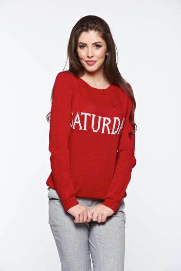 Red casual knitted texted flared sweater