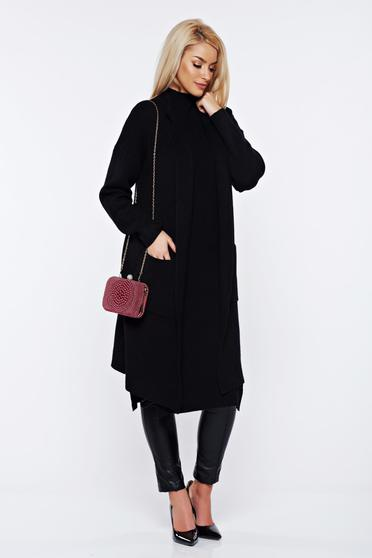 Black knitted asymmetrical cardigan with easy cut