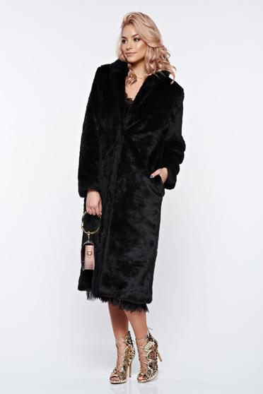 Black fur with straight cut from soft fabric with inside lining