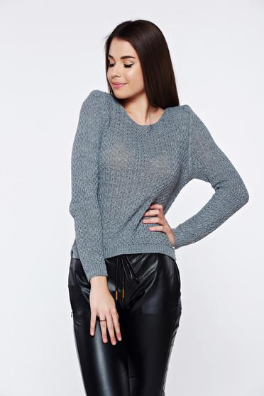 Grey casual knitted asymmetrical sweater with easy cut