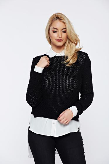 Black casual knitted asymmetrical sweater with easy cut