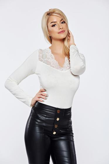 White casual elegant tented women`s blouse with lace details