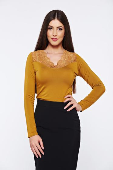 Brown casual elegant tented women`s blouse with lace details