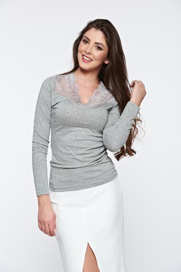 Grey casual elegant tented women`s blouse with lace details
