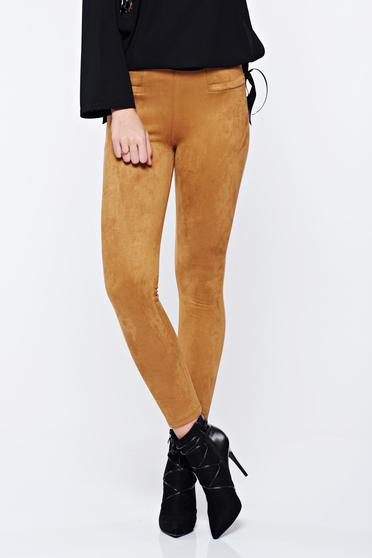 Casual conical high waisted brown trousers from velour