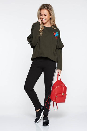 Darkgreen casual embroidered flared sweater with ruffled sleeves