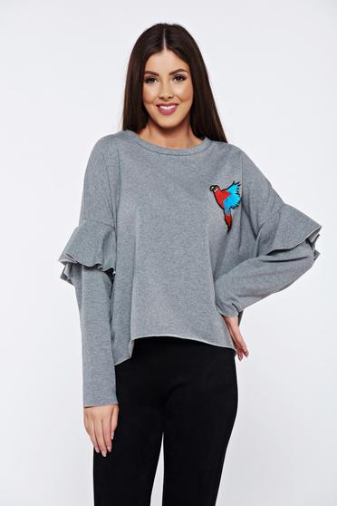 Grey casual embroidered flared sweater with ruffled sleeves