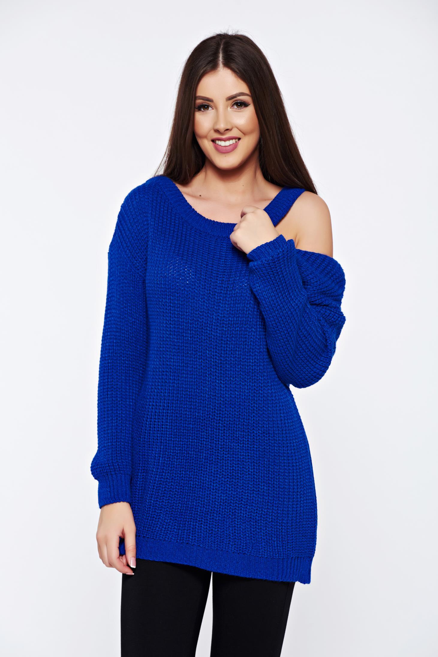 Pulover albastru casual tricotat cu croi larg cu umeri decupati